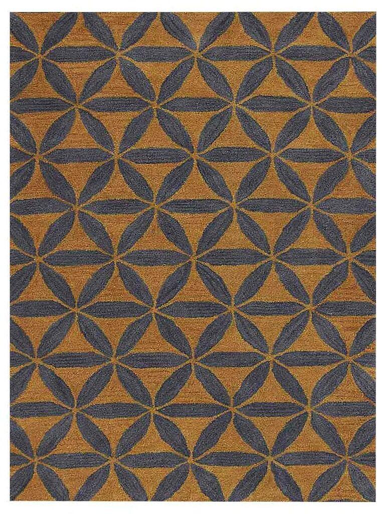 Freida Geometric Hand-Tufted Wool Gold/Blue Area Rug Rug Size: Rectangle 8' x 11'