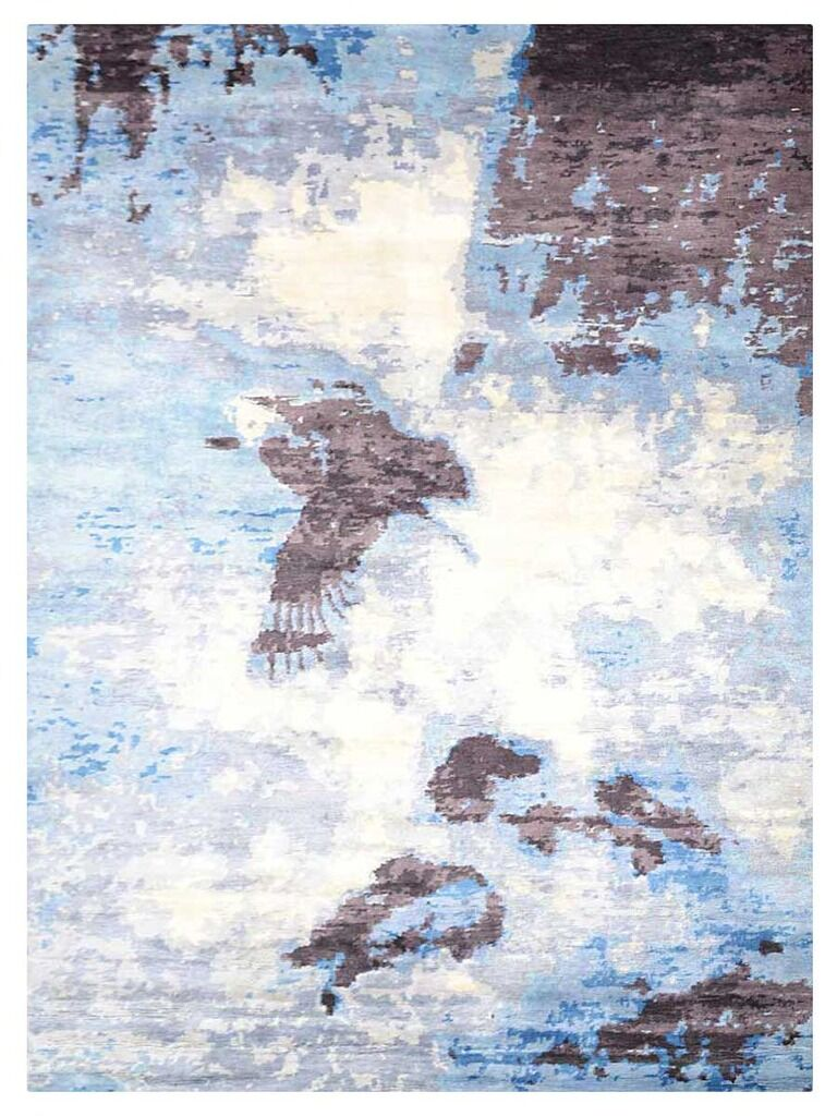 Johns Contemporary Hand-Knotted Wool Light Brown/Blue Area rug Rug Size: Rectangle 5' x 8'