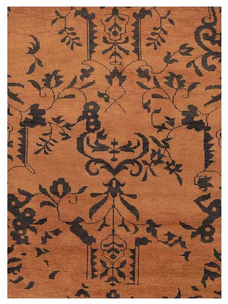 Heuer Floral Hand-Knotted Wool Brown/Black Area Rug Rug Size: Rectangle 9' x 12'