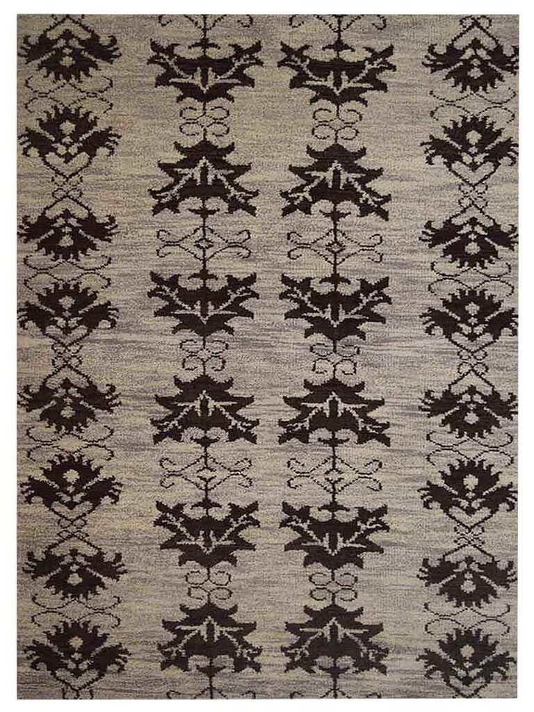 Heuer Floral Hand-Knotted Wool Beige/Brown Area Rug Rug Size: Rectangle 9' x 12'