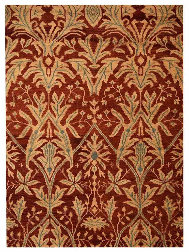 Creasman Floral Hand-Knotted Wool Red/Gold Area Rug Rug Size: Rectangle 6' x 9'