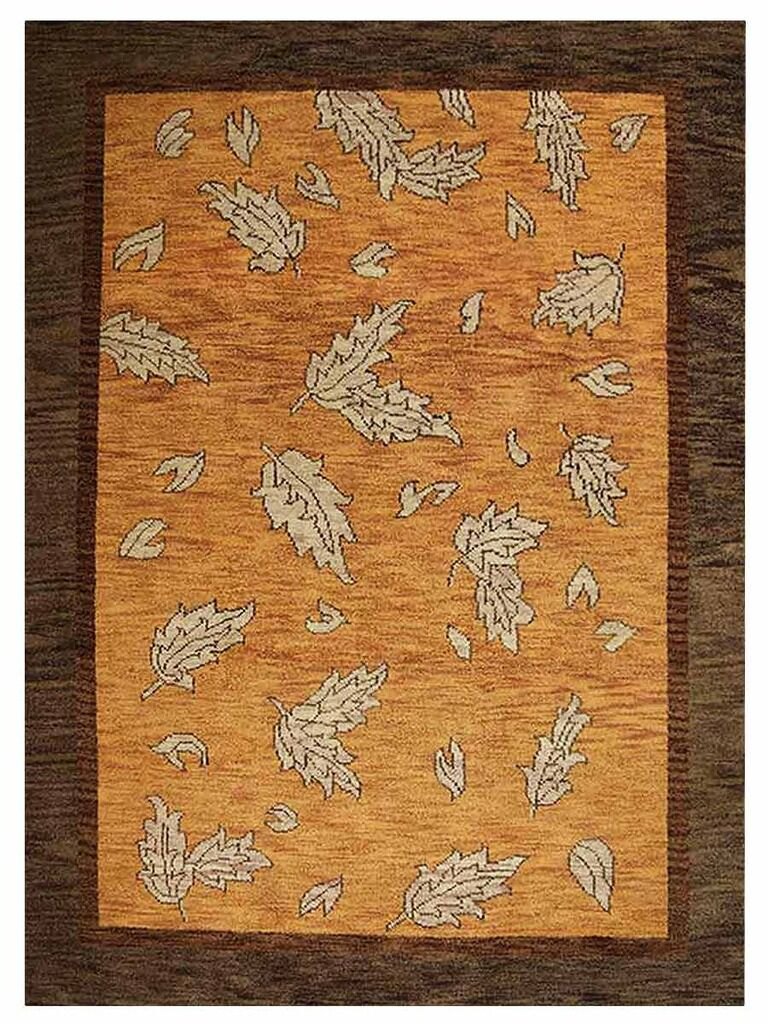 Campuzano Floral Hand-Knotted Wool Orange/Brown Area Rug Rug Size: Rectangle 6' x 9'