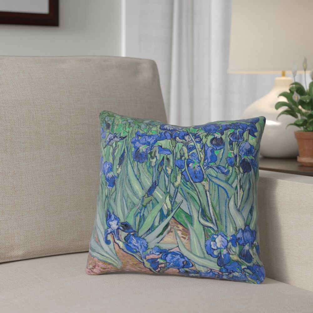 Morley Irises Square 100% Cotton Pillow Cover Size: 18