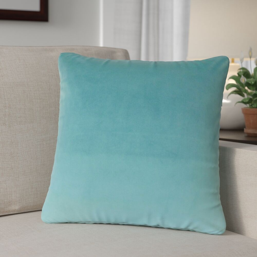 Theriault Solid Cotton Throw Pillow Color: Turquoise