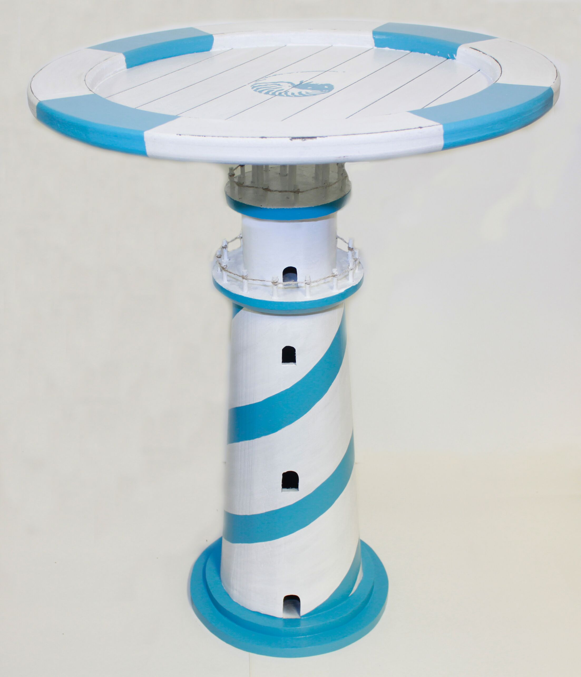 Budd Wooden Lighthouse Table Stripe End Table Color: Blue