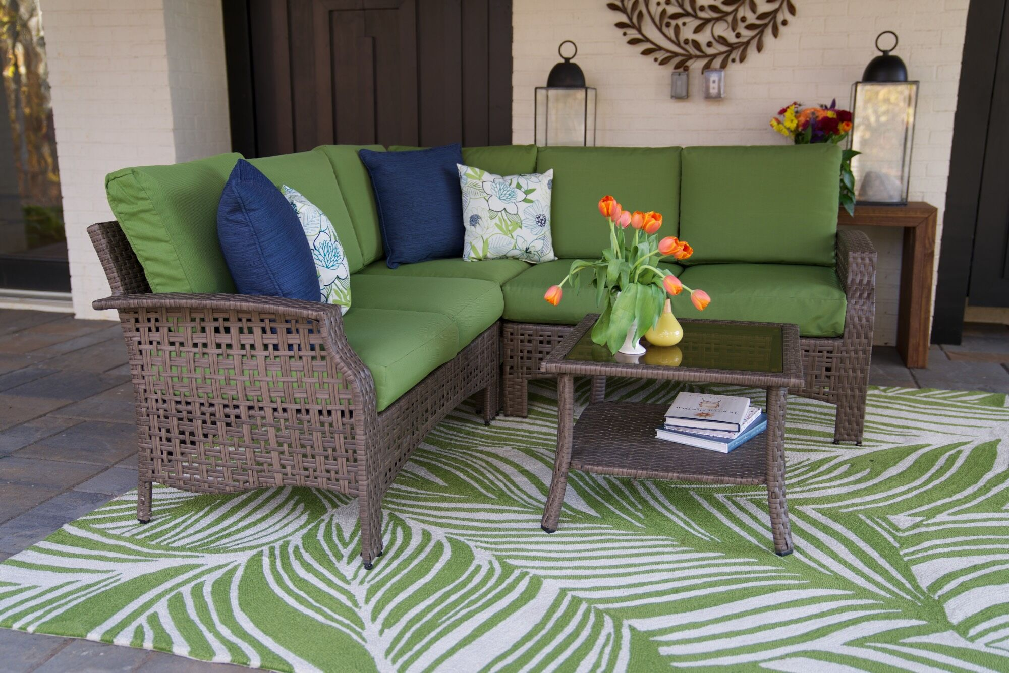 Kewstoke 4 Piece Sectional Set with Cushions Cushion Color: Green