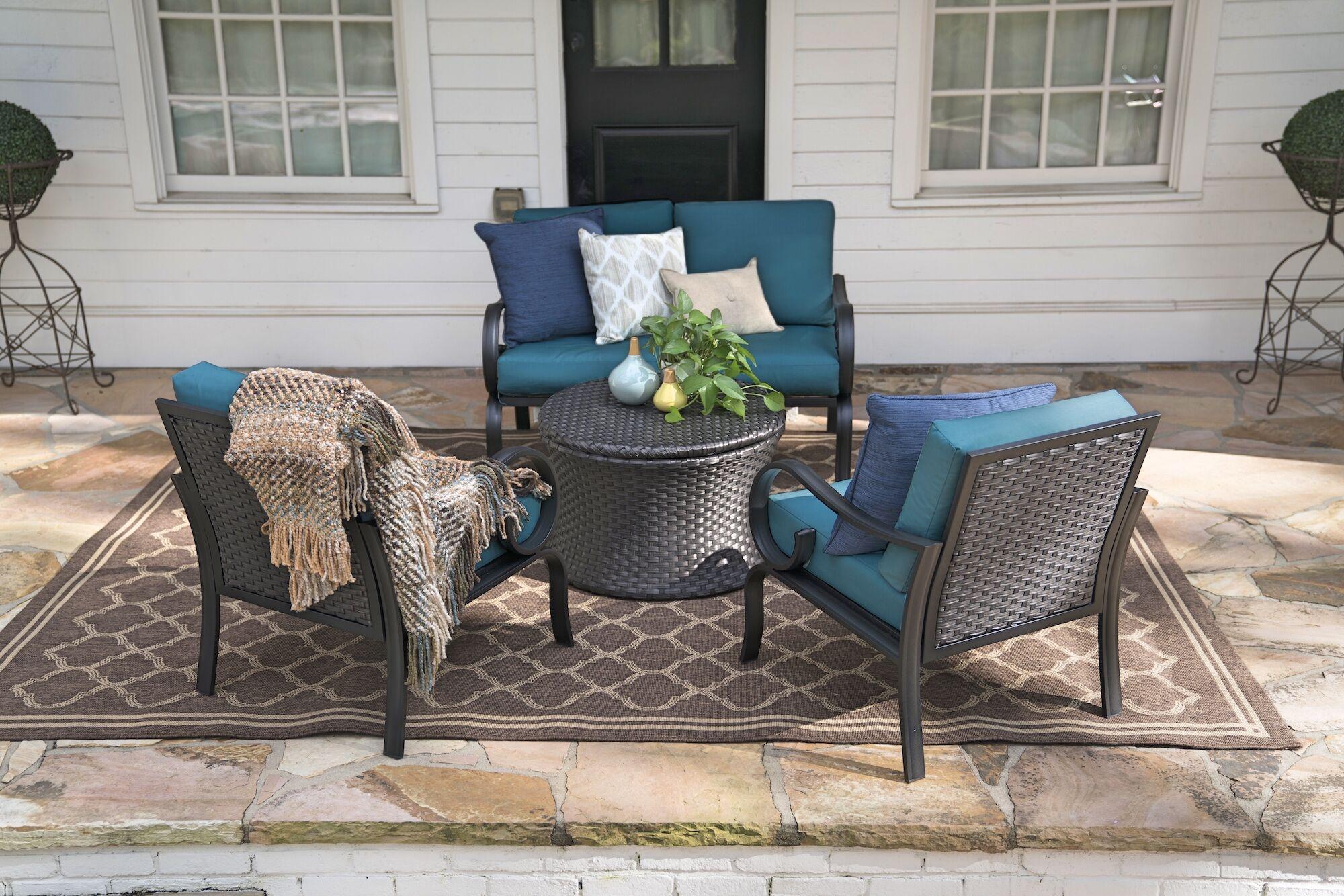 Crespo 4 Piece Sofa Set with Cushions Cushion Color: Peacock