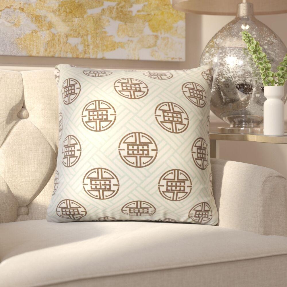 Amos Geometric Linen Throw Pillow Color: Surf