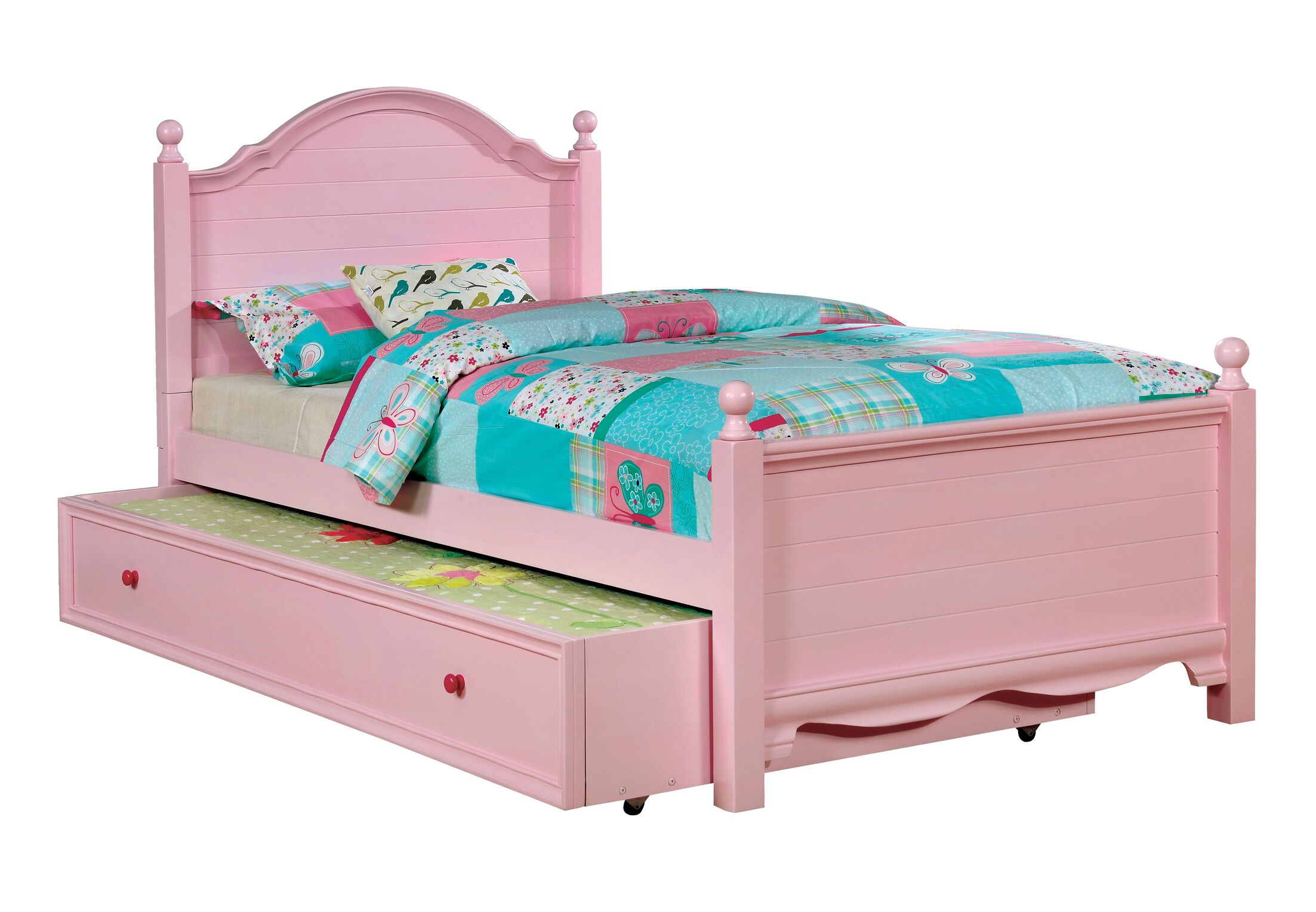 Contemporary Trundle Unit and Side Rail Bed Frame Color: Pink, Size: Twin