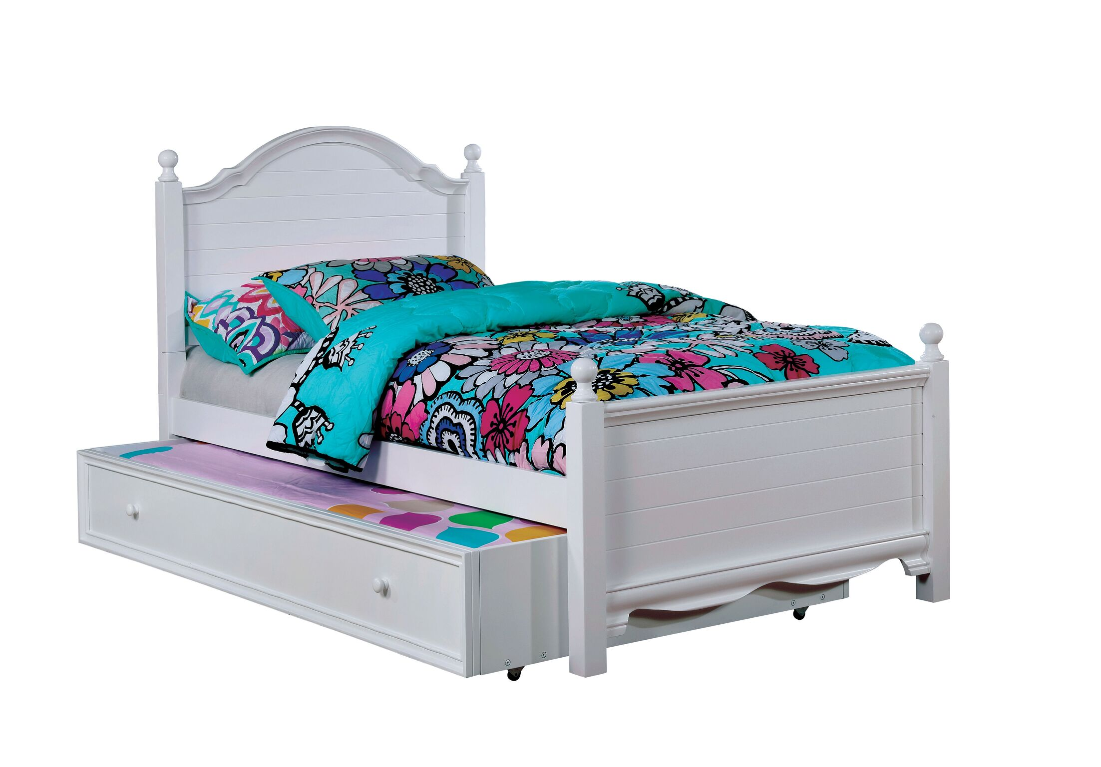 Contemporary Trundle Unit and Side Rail Bed Frame Color: White, Size: Twin