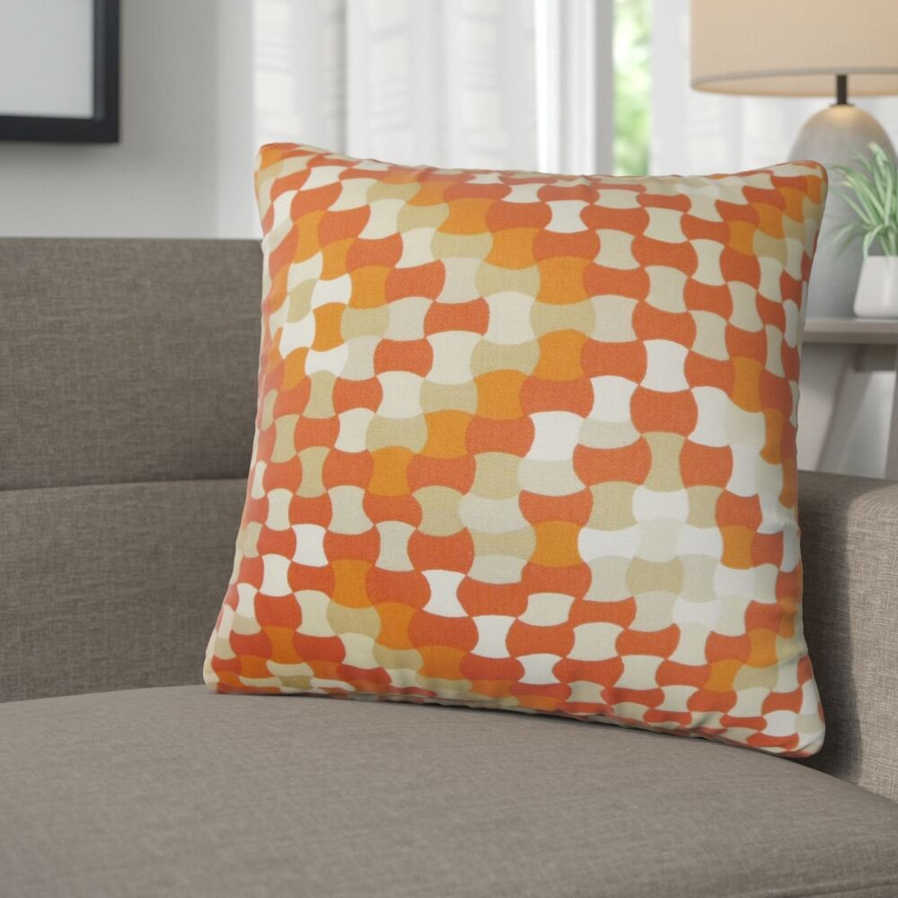 Alaya Geometric Cotton Throw Pillow Color: Tangerine