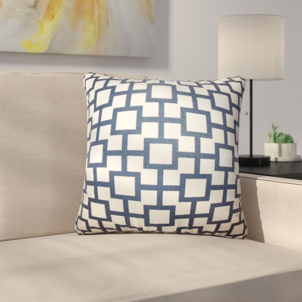 Leaston Rezendes Geometric Cotton Throw Pillow Color: Navy