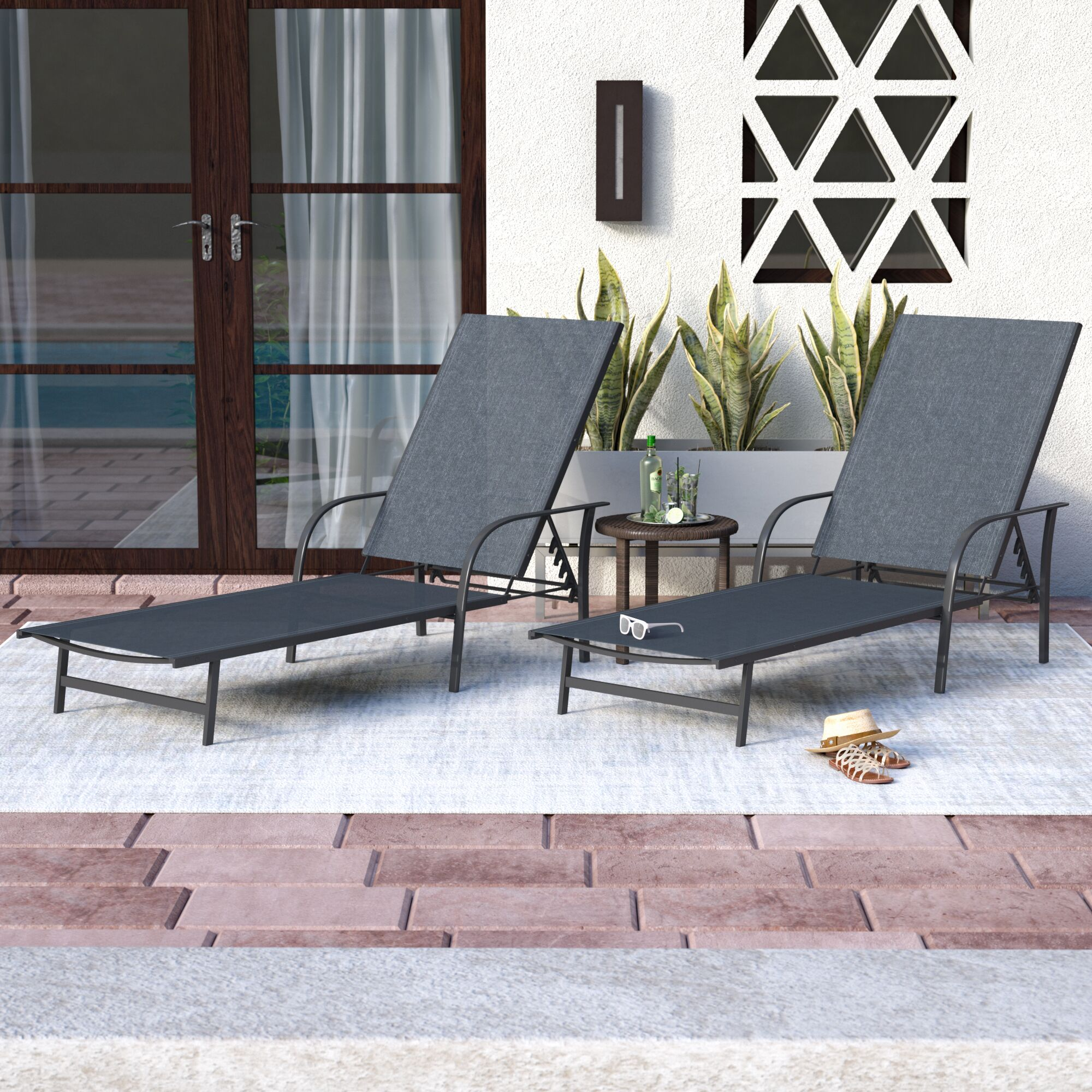 Armando Outdoor Chaise Lounge Color: Black