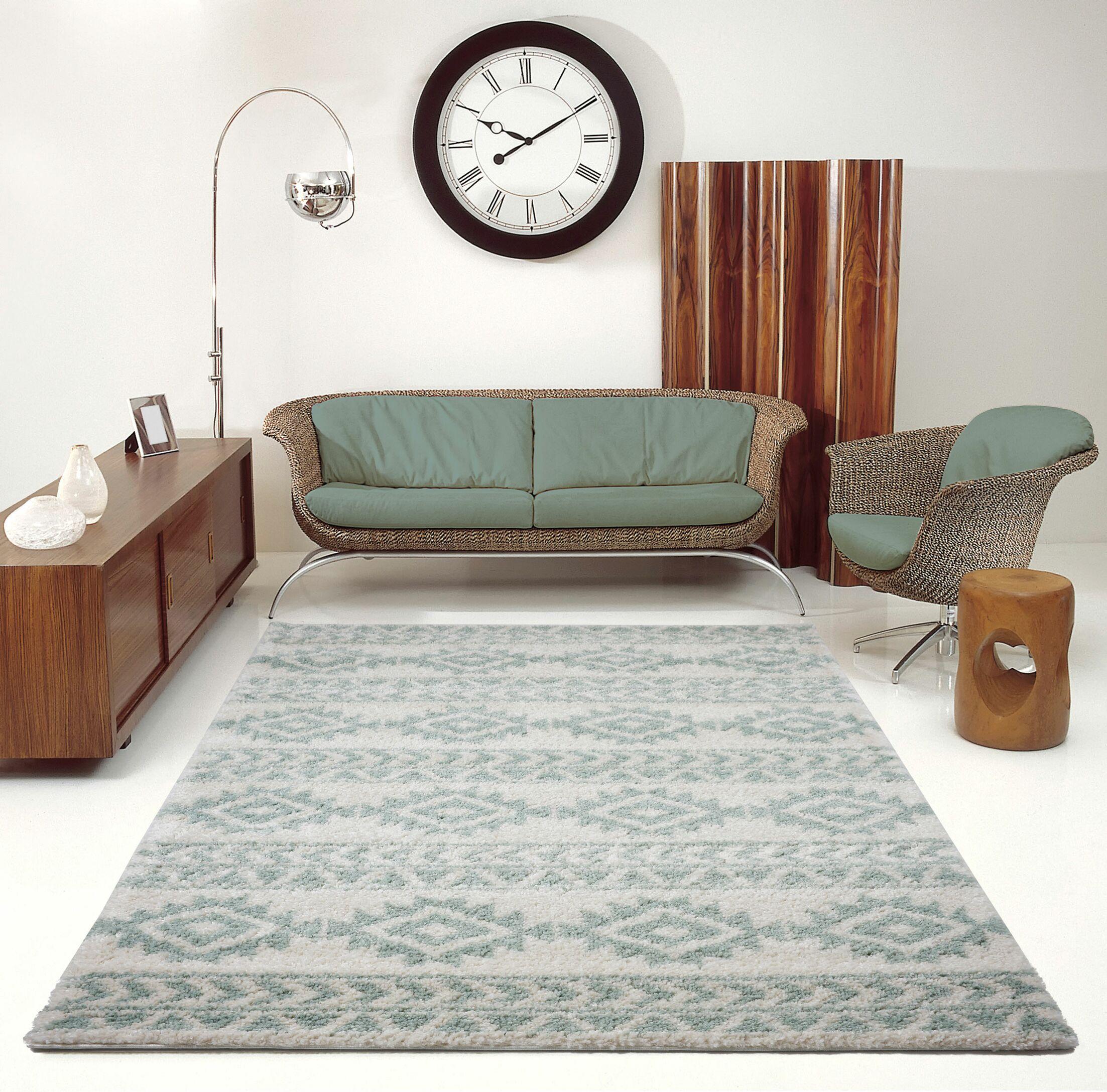 Hiebert Ivory/Aqua Area Rug Rug Size: Rectangle 5'3