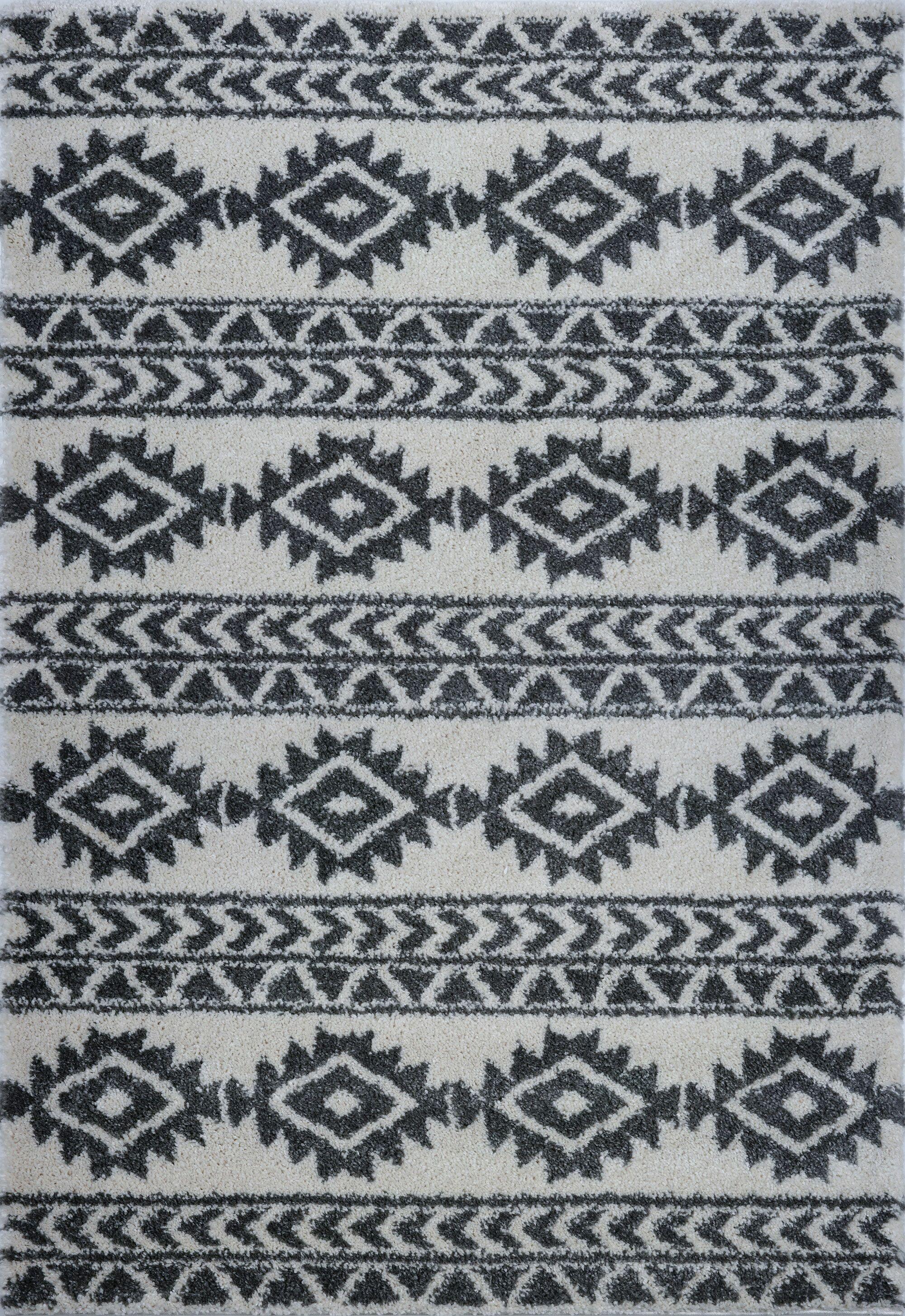 Hiebert Ivory/Black Area Rug Rug Size: Rectangle 6'5
