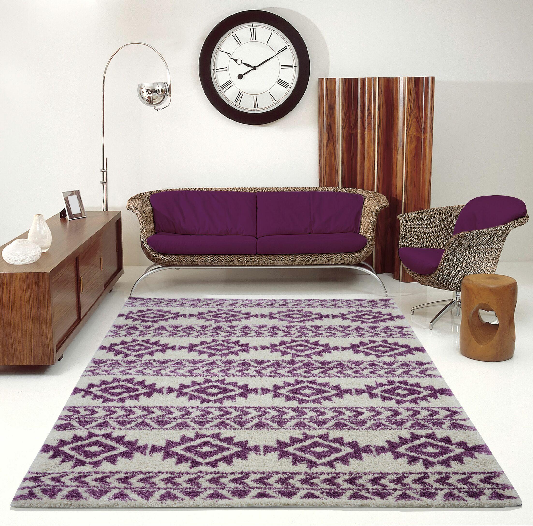 Hiebert Purple/Ivory Area Rug Rug Size: Rectangle 5'3