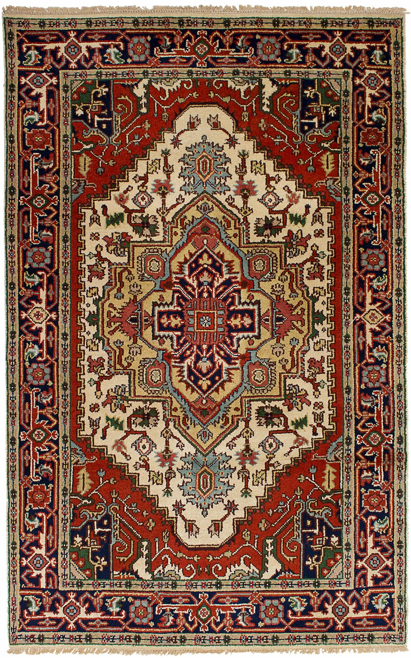 One-of-a-Kind Doerr Hand-Knotted Wool Cream/Dark Copper Indoor Area Rug