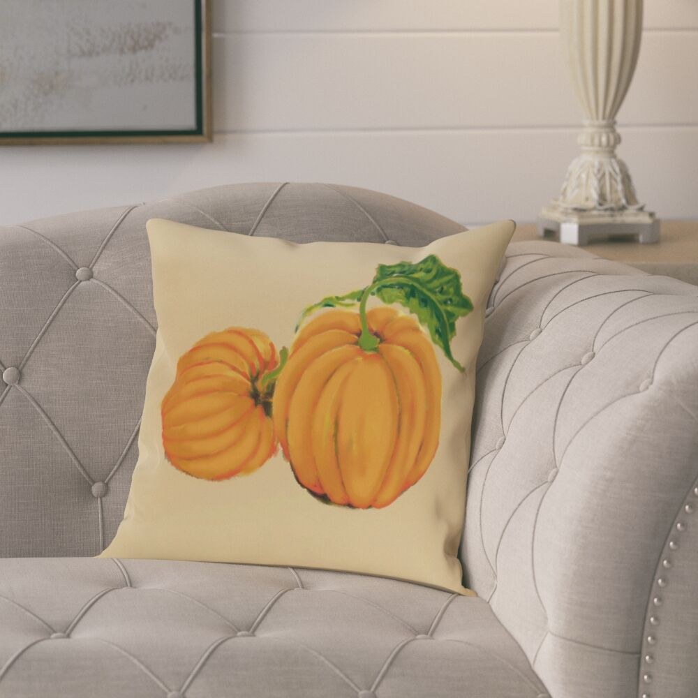 Pinero Pumpkin Patch Holiday Print Throw Pillow Color: Yellow, Size: 18