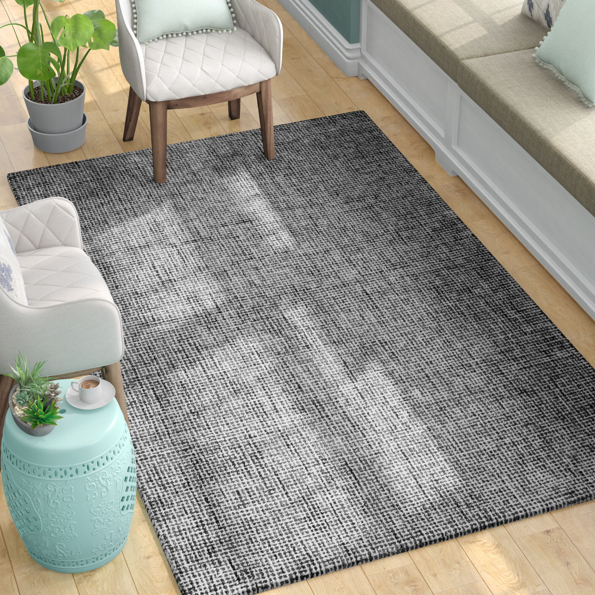Guildhall Hand-Tufted 100% Wool Black Area Rug Rug Size: Rectangle 8' x 10'