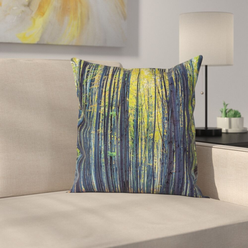 Forest Autumn Woodland Nature Square Pillow Cover Size: 16