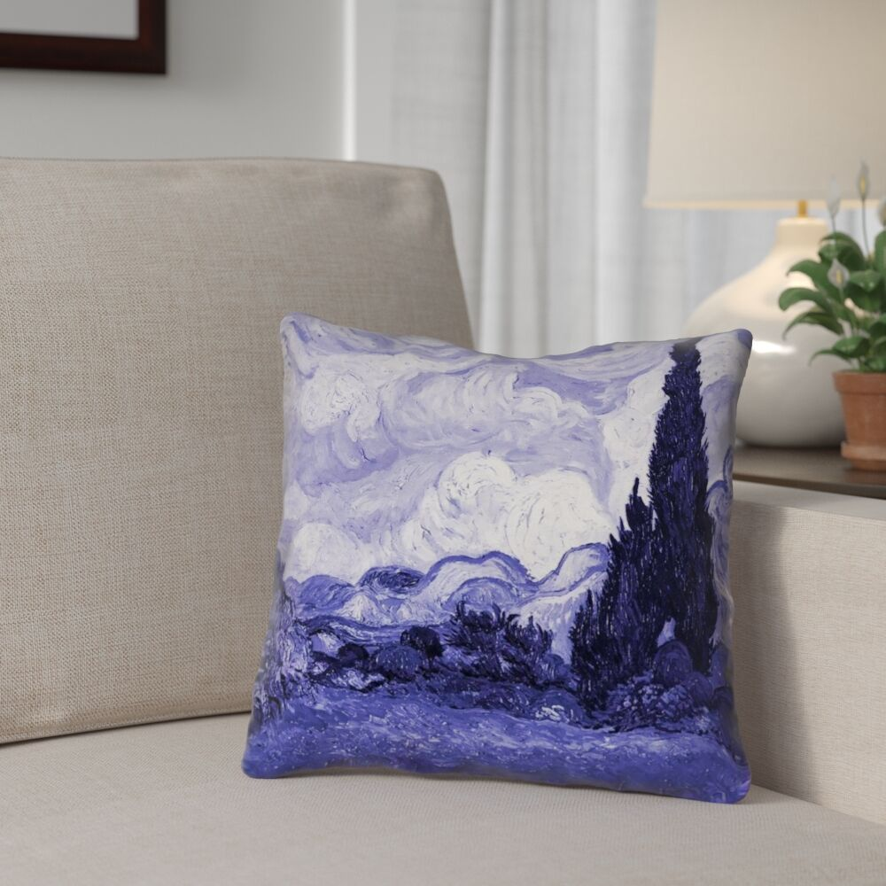 Meredosia Wheat Field with Cypresses Throw Pillow Size: 18