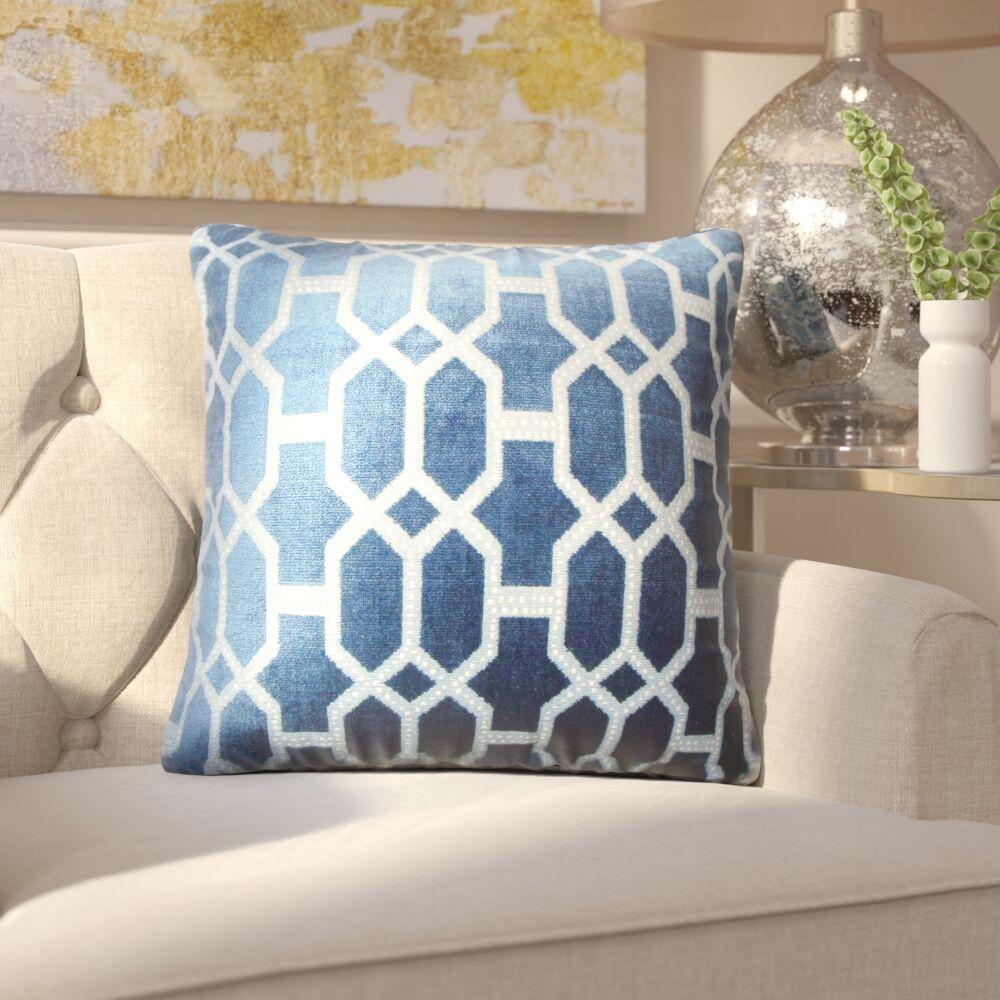 Kerra Geometric Throw Pillow Color: Lapis