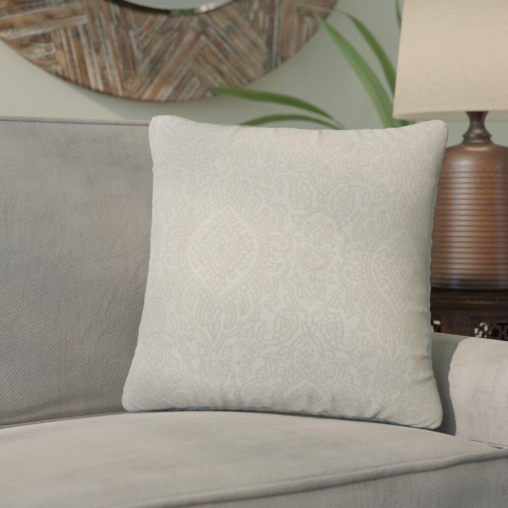 Amina Damask Cotton Throw Pillow Color: Jute