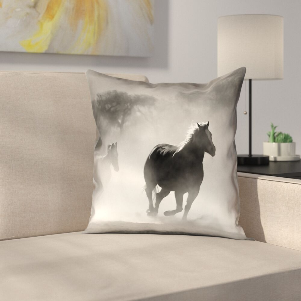 Aminata Galloping Horses Square Double Sided Print Pillow Cover Size: 26