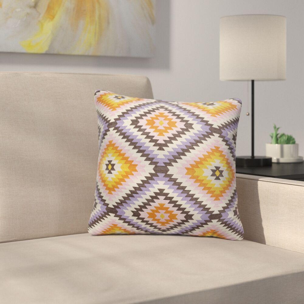 Sulien Indoor/Outdoor Throw Pillow Color: Purple/ Ivory/ Orange, Size: 26