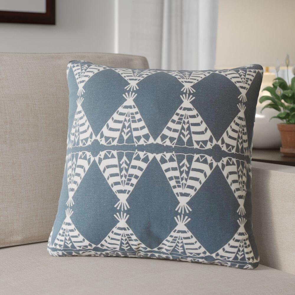 Roi Graphic Cotton Throw Pillow Color: Blue