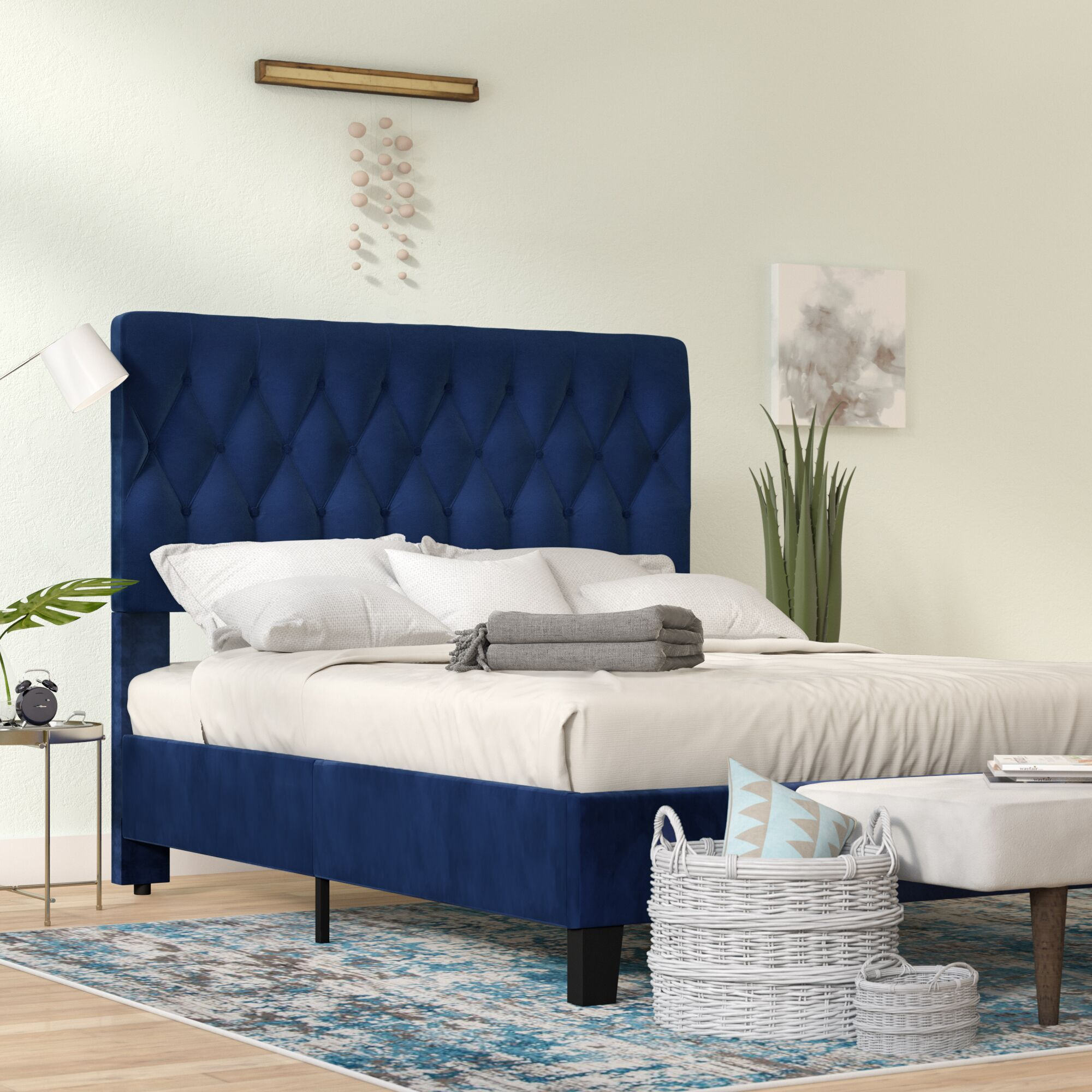 Kirtley Upholstered Panel Bed Color: Navy, Size: Queen