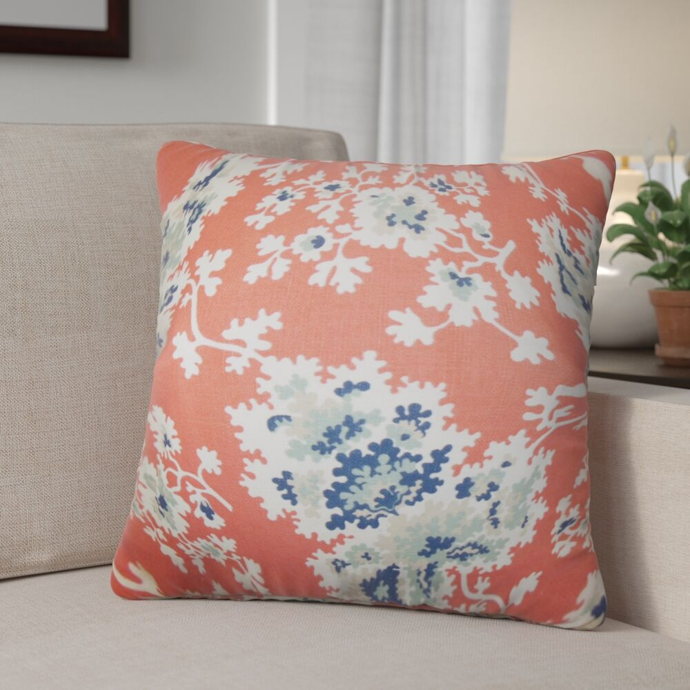 Murley Floral Cotton Throw Pillow Color: Coral