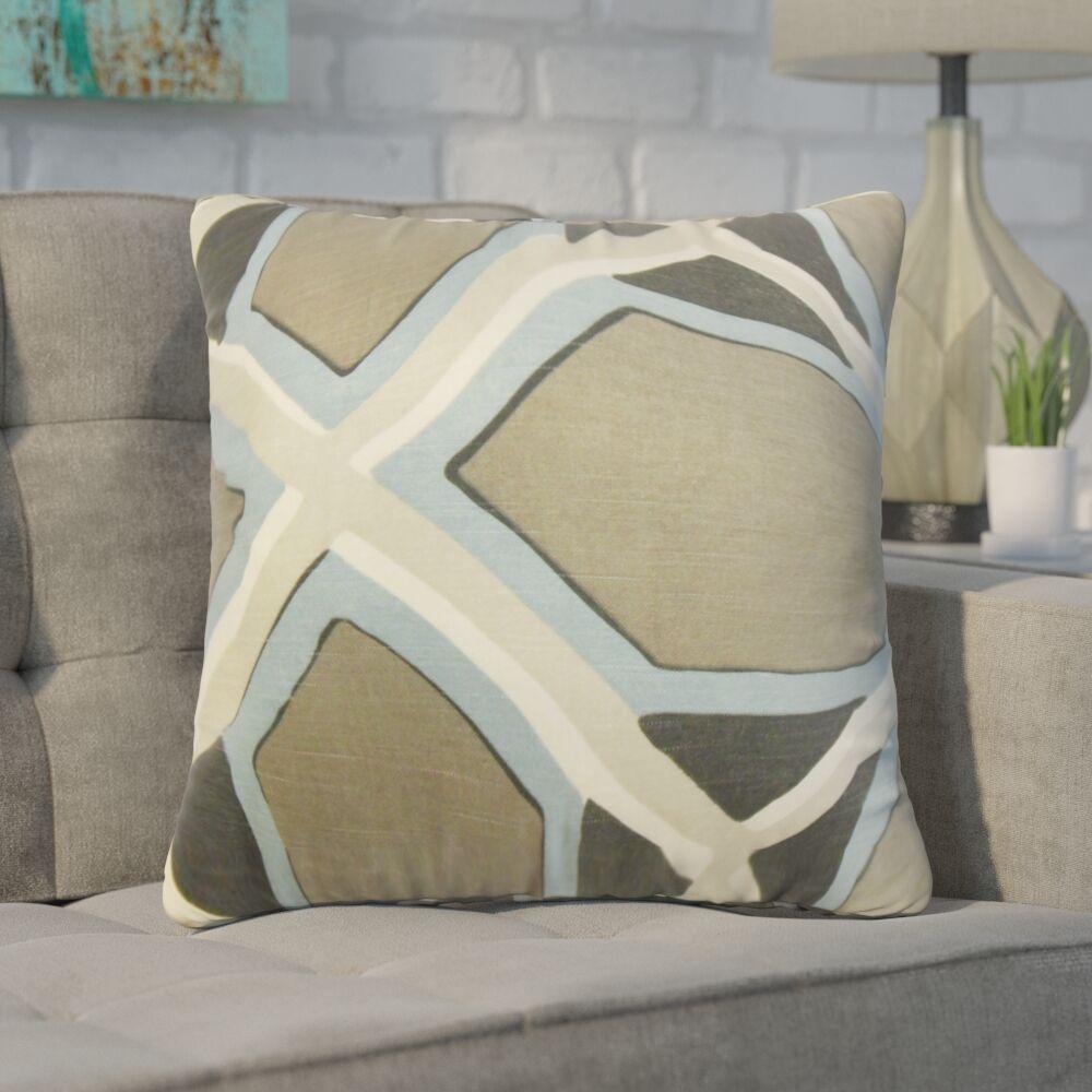 Wiltse Geometric Linen Throw Pillow Color: Gray