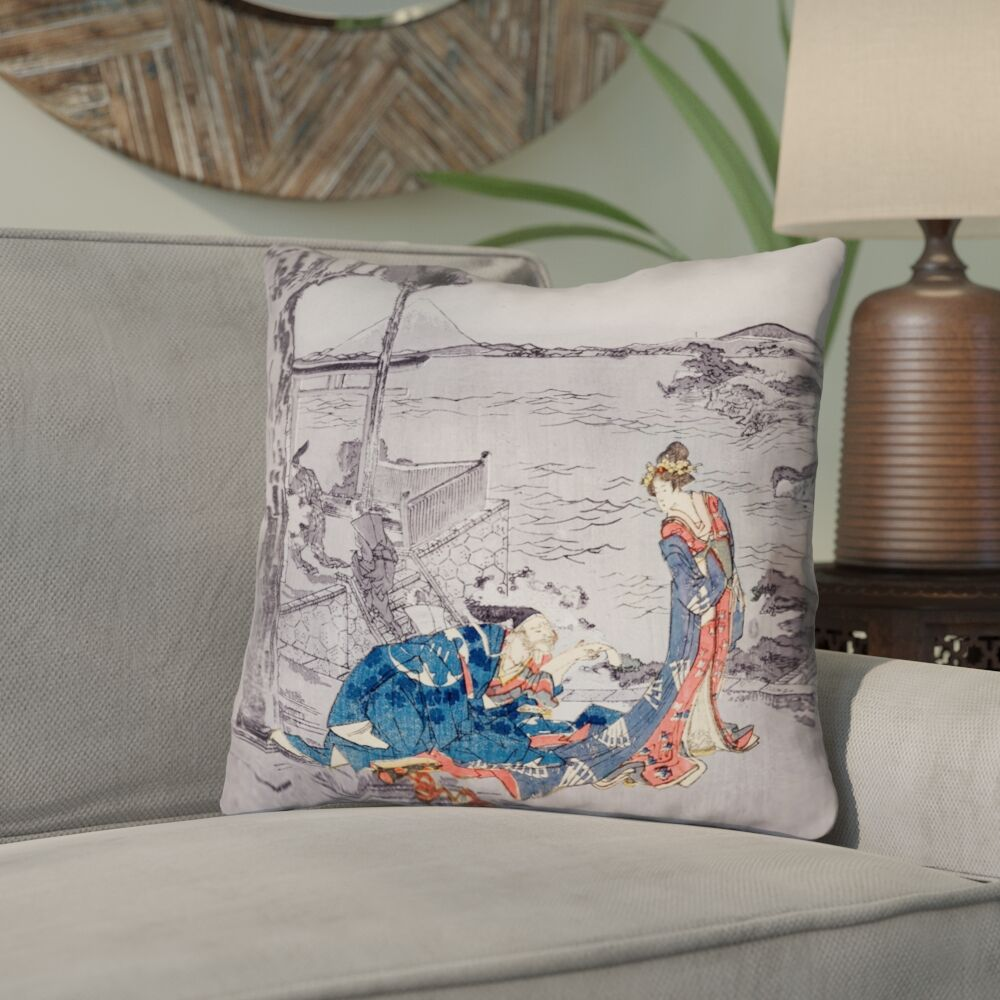 Enya Japanese Double Sided Print Courtesan Throw Pillow with Insert Size: 14