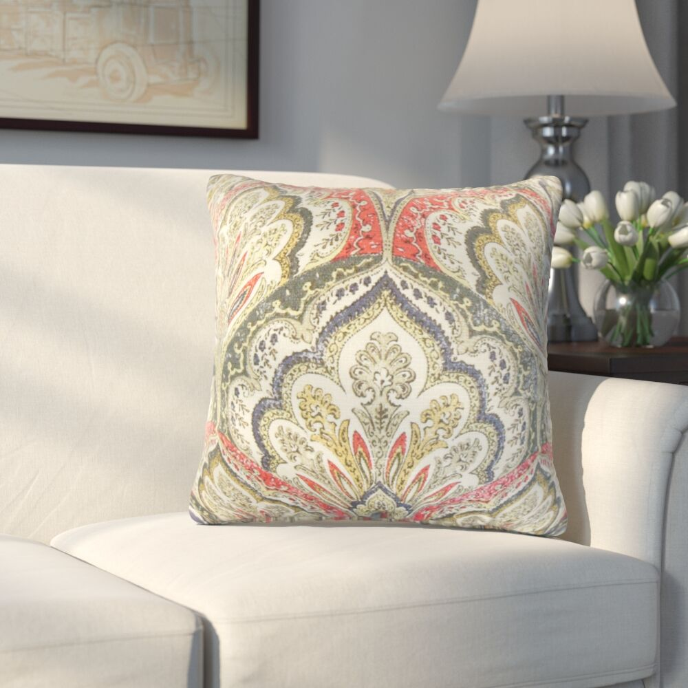 Whittaker Paisley Cotton Throw Pillow Color: Flame