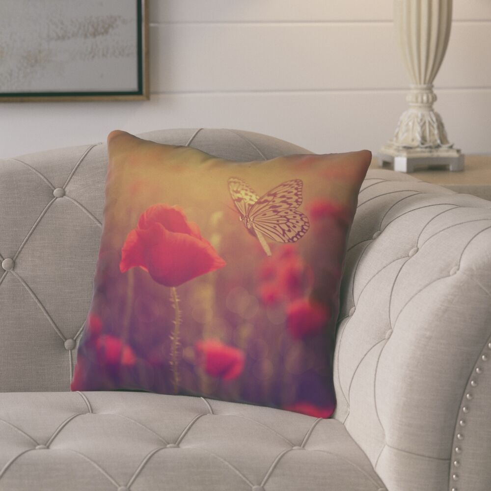 Mariani Butterfly and Rose Square Throw Pillow Size: 14