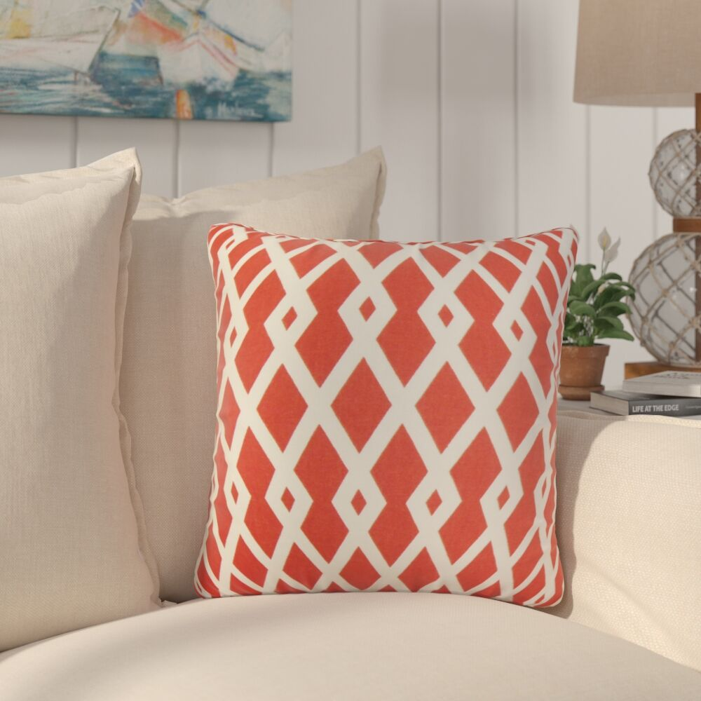 Arbutus Geometric Cotton Throw Pillow Color: Red
