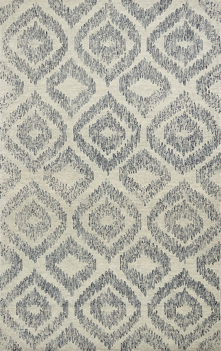 Gilleland Hand-Tufted Wool Ivory/Blue Area Rug Rug Size: Rectangle 5' x 7'