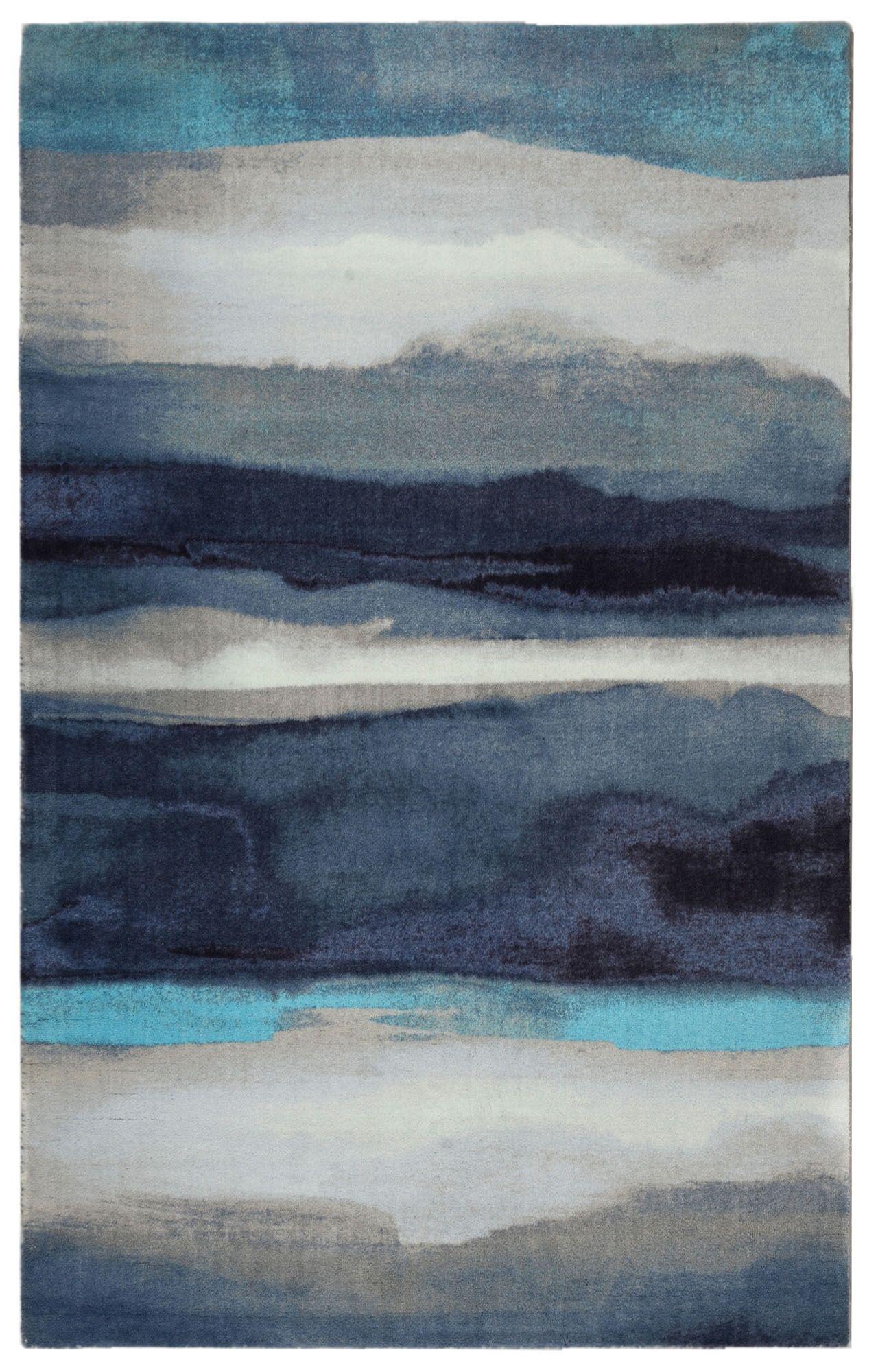 Labombard Canvas Contemporary Modern Blue/Gray Area Rug Rug Size: Rectangle 7'6