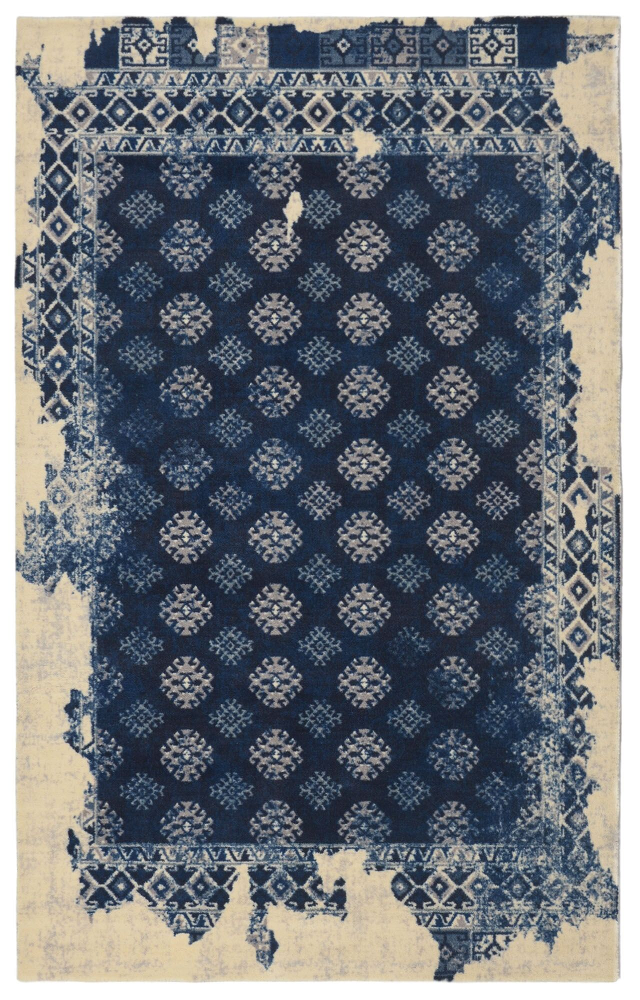Freetown Distressed Vintage Inspired Navy/Beige Area Rug Rug Size: Rectangle 7'6