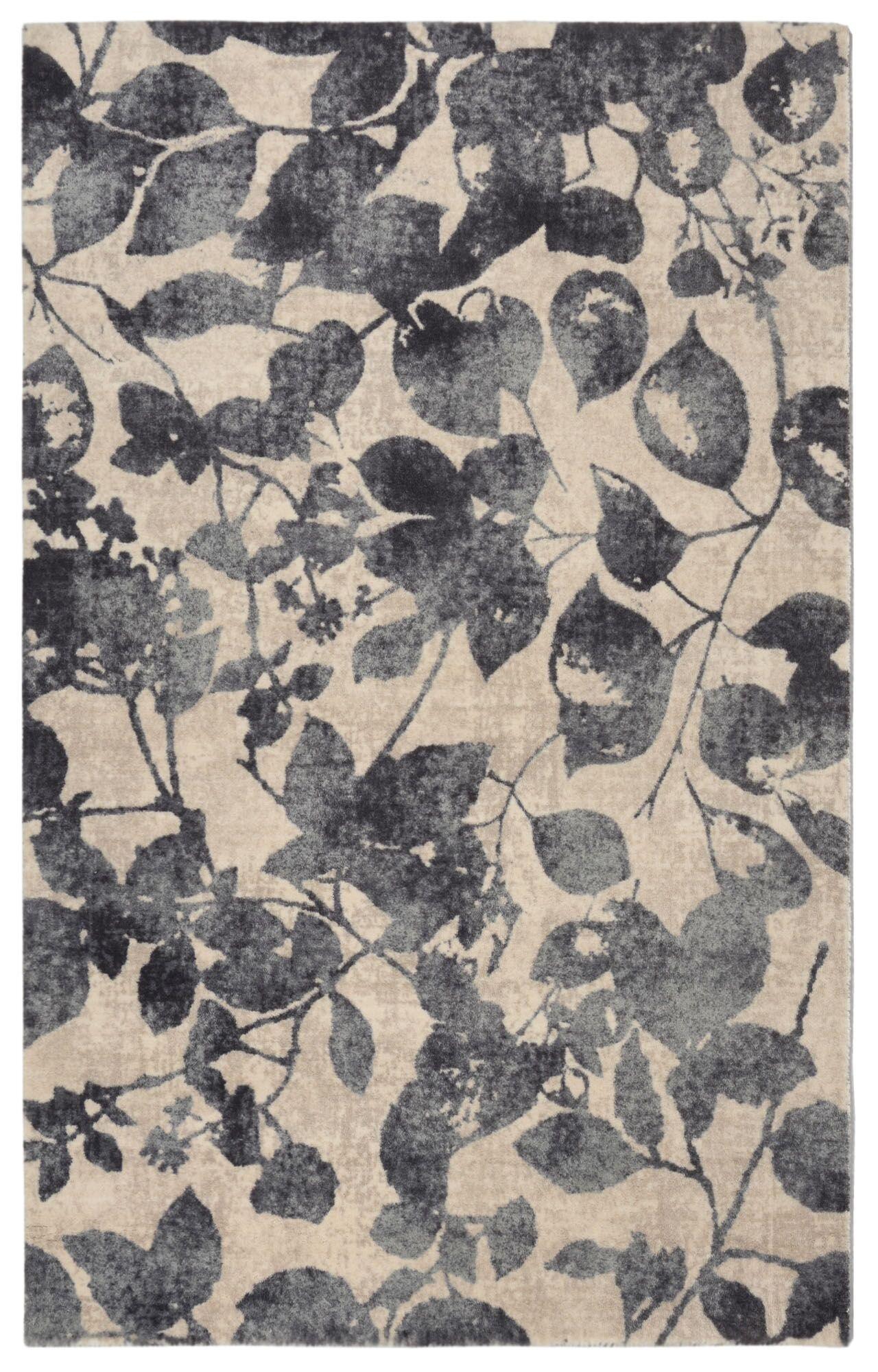 Bartlet Modern Floral Charcoal/Ivory Area Rug Rug Size: Rectangle 5'6