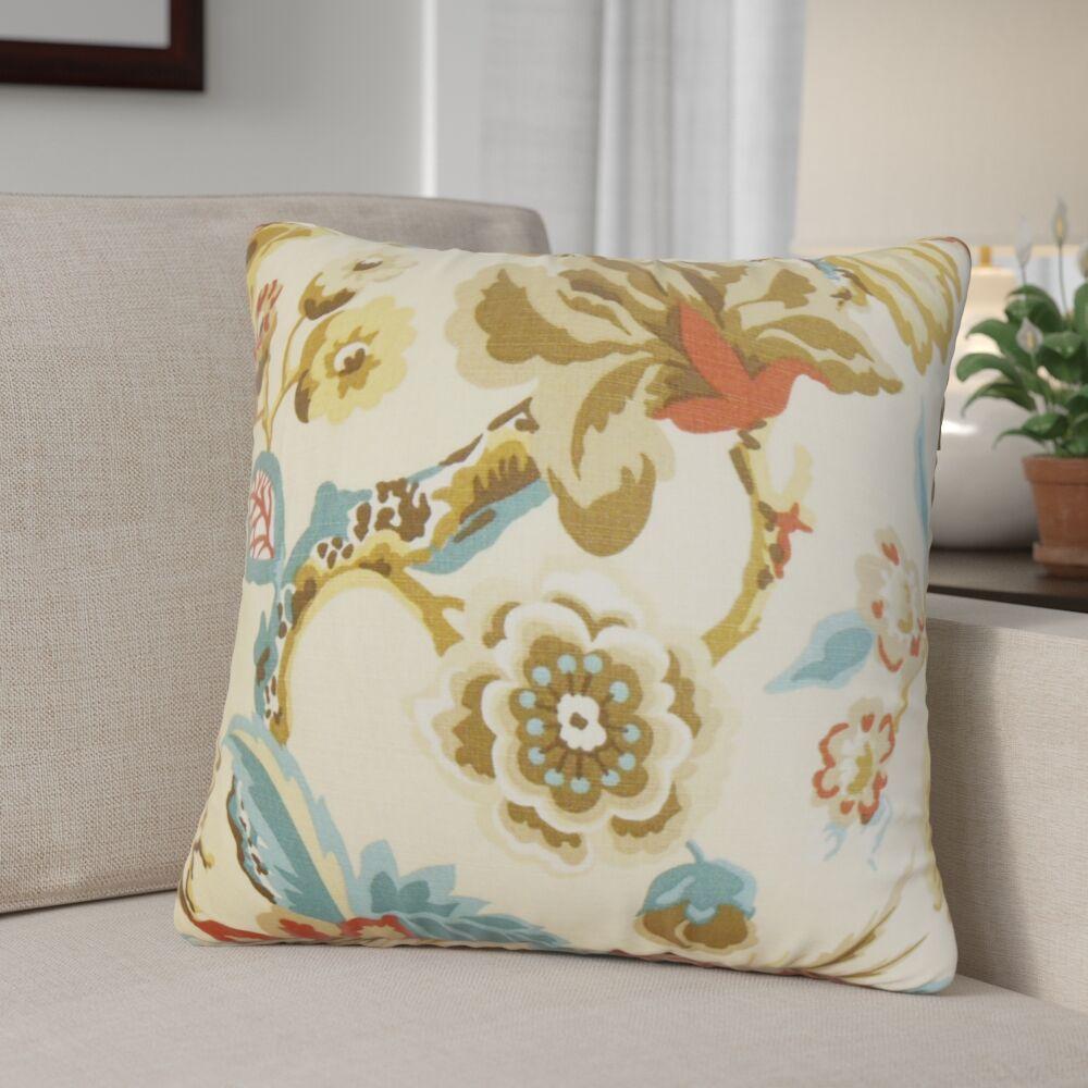 Brisson Floral Cotton Throw Pillow Color: Creme