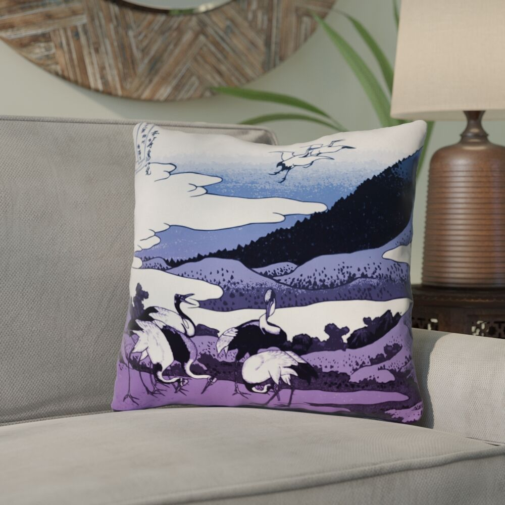 Montreal Japanese Cranes Linen Throw Pillow Size: 18