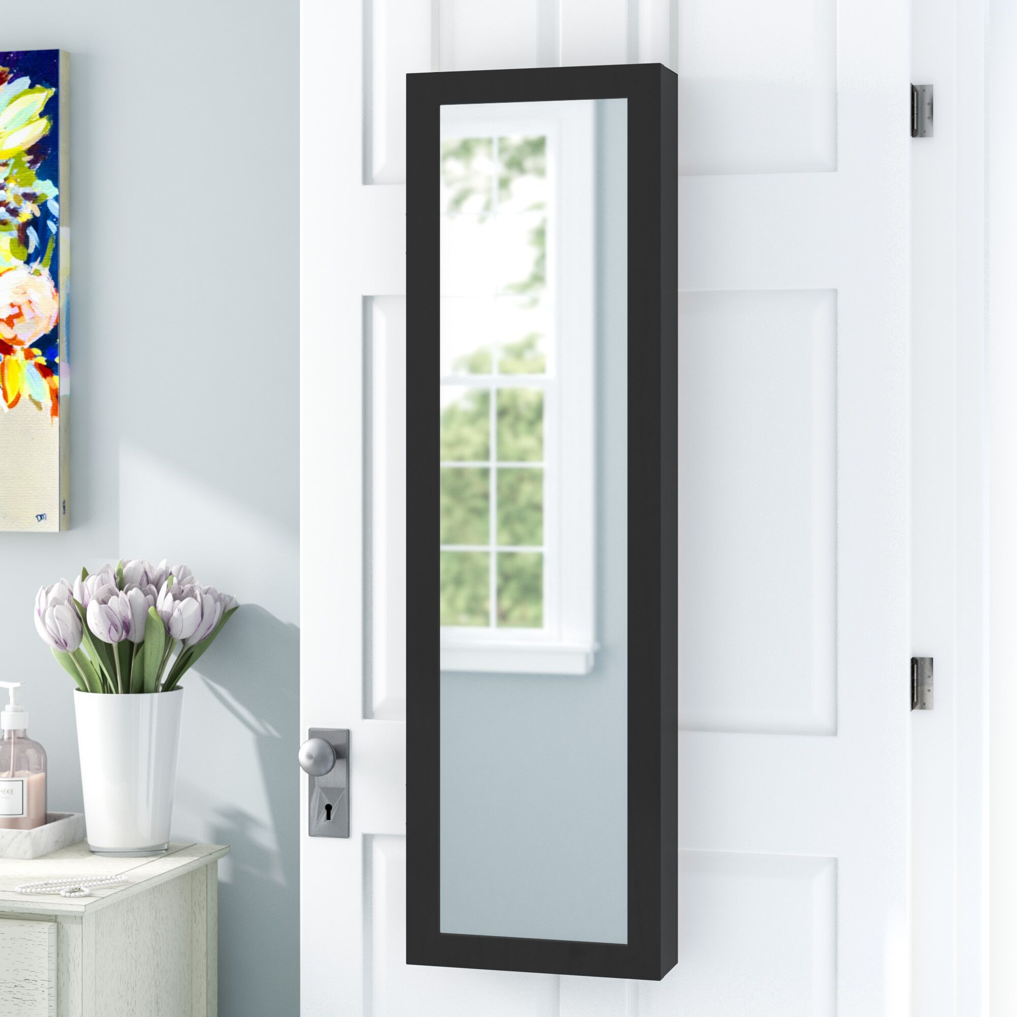 Wall Mounted Jewelry Armoire with Mirror Color: Black