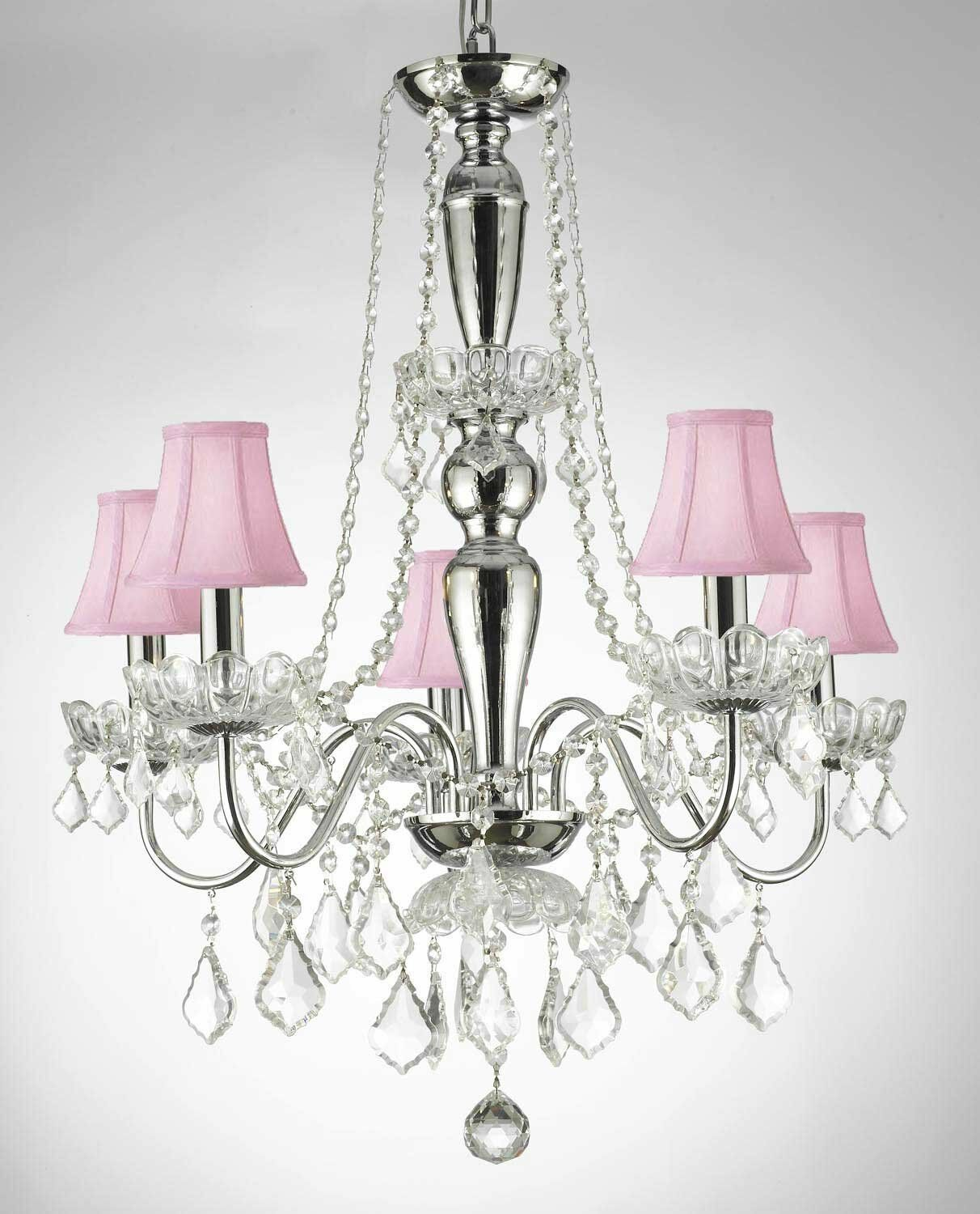 Croxton Crystal Trimmed 5-Light Shaded Chandelier Shade Color: Pink