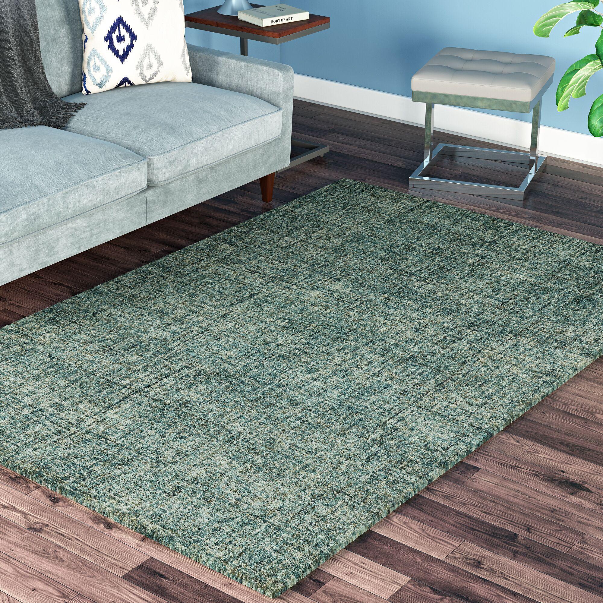 Gilboa Hand-Tufted Wool Turquoise Area Rug Rug Size: Rectangle 3'6