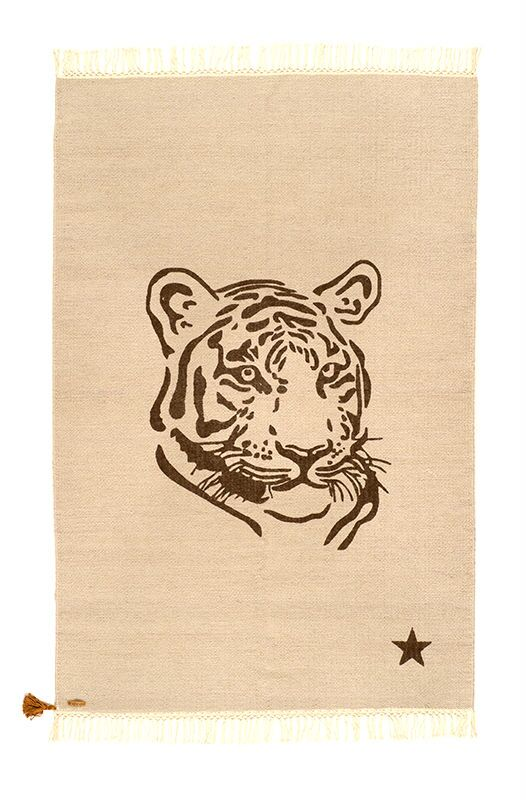 One-of-a-Kind Deerfin Tiger Hand-Woven Cotton Beige Area Rug