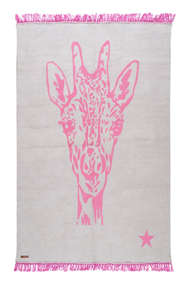 One-of-a-Kind Coggrey Giraffe Hand-Woven Gray/Pink Cotton Area Rug