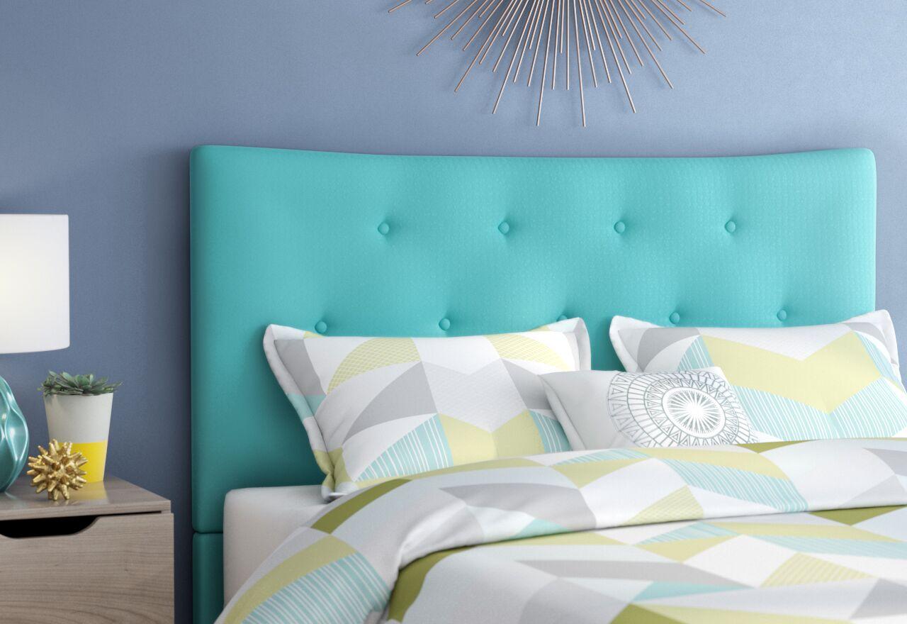 Dedrick Full Upholstered Panel Headboard Upholstery: Cyan, Size: Full