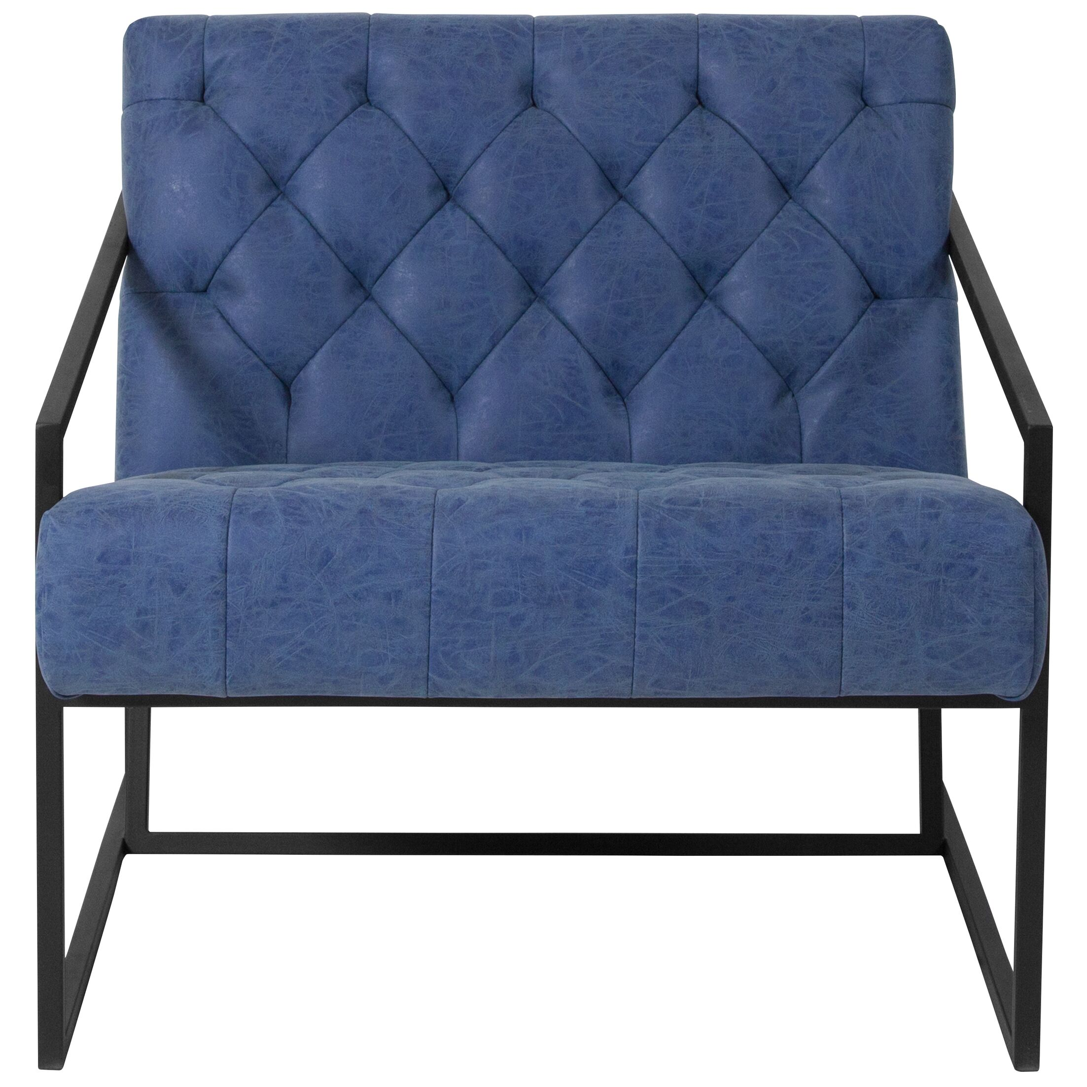Janney Leather Tufted Lounge Chair Seat Color: Retro Blue